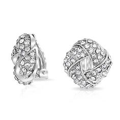 Woven Crystal Love Knot Clip On Earrings Silver Plated