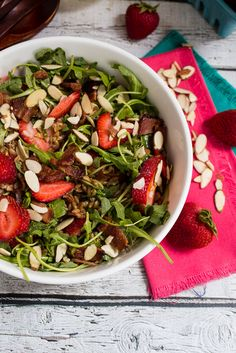 Bacon Strawberry and Farro Salad #SundaySupper - The Girl in the Little Red Kitchen