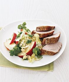 Pork Tenderloin With Cabbage and Apple Slaw recipe from realsimple.com #myplate #protein #vegetables