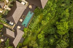 COMO-Shambhala-Estate_Tirta-Ening-residence-aerial-view Bali Fashion, Tropical Houses, Ubud, Aerial View, Hotels And Resorts, Spa, Mansions, Architecture, House Styles