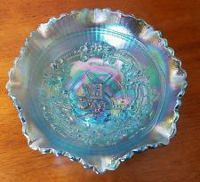 "Vintage LE Smith Windmill ICE BLUE CARNIVAL  Glass Bowl - BEAUTIFUL 7.5"" NICE"