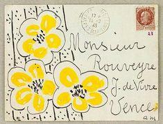Envelope by Henri Matisse. I love matisse big time and this envelope is awesome! Henri Matisse, Matisse Art, Envelope Art, Envelope Design, Envelope Lettering, Mail Art Envelopes, Art Postal, Illustration Photo, Fun Mail