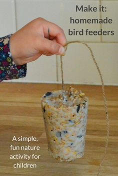 How to make your own bird feeders - a simple, fun nature activity for children which will encourage wild birds to visit your garden.