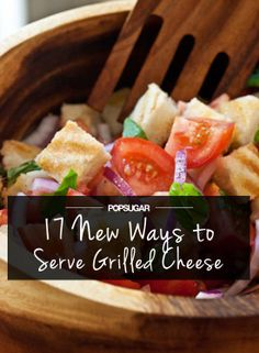 This post contains variations on grilled cheese and ways to serve it - I am intrigued by this photo of grilled cheese panzanella.