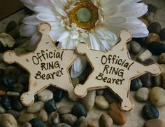 SET of 4 Badges Star Pins for Your Ring Bearer Best Man Groomsman Father of the Bride Father of the Groom Rustic Wedding Decoration. $36.99, via Etsy.