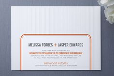 Modern orange wedding invitation #weddings