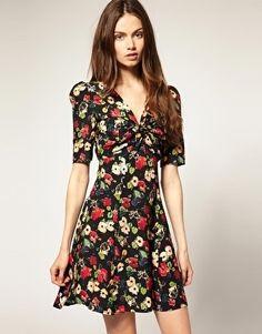 ASOS V Neck Dress with Poppy Print - StyleSays