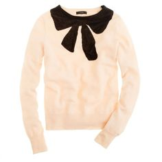 J.Crew Giant bow sweater ($70) ❤ liked on Polyvore featuring tops, sweaters, shirts, long sleeves, shirt sweater, bow sweater, j crew tops, bow top and j crew shirt