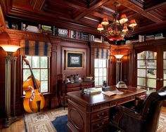 Traditional Home Office Decorating Ideas for Men with Glaring Chandelier above Wood Desk and Leather Swivel Chair Plaid Curtain French Window