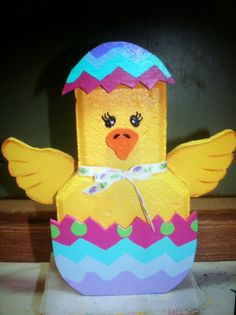 Easter Chick By Family Affair Painted Bricks Crafts, Brick Crafts, Painted Pavers, Brick Projects, Stone Crafts, Painted Rocks, Hand Painted, Painting Concrete, Concrete Art