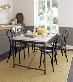 """Cottage Dining Room with Vienna Black Side Chair and Cushion, Concrete tile, Alfi brand 23.5"""" x 16"""" farmhouse kitchen sink"""