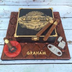 Cigar box cake for a cigar enthusiast. Box is cake, decorations are all fondant, and cake board is made to look like a couch you would fine in a cigar lounge. 50th Birthday Party Ideas For Men, 50th Birthday Gag Gifts, Hubby Birthday, Birthday Cakes For Men, 40th Birthday, Birthday Sayings, Male Birthday, Birthday Images, Birthday Greetings