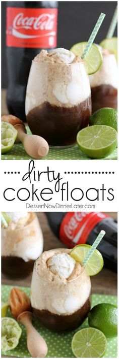 Dirty Coke Floats - smooth coconut ice cream, a tangy squeeze of lime, and fizzy Coca-Cola creates this addicting ice cream-soda float!