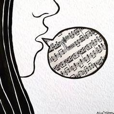 Speaking music  #ninacaterinamuller #illustration #collageart #music #note #singer #singing #singingalong #singinggirl #musician #piano #readthenotes #blackandwhite #play #art #instaart