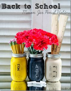 Back to School Teacher Gift Pencil Holder Mason Jars Painted