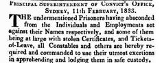 NSW List of Absconded and Apprehended Prisoners (Convicts) 11 February 1833