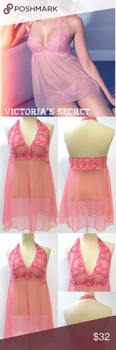 VICTORIA'S SECRET Lace Babydoll Halter Lingerie L Victoria's Secret Babydoll Nightie Lingerie  Excellent Condition!! | VERY PRETTY Light Pink Sheer Mesh/Super Soft Stretch Lace Halter Style | Lace Bust | SIZE L  Victoria's Secret Intimates & Sleepwear Chemises & Slips