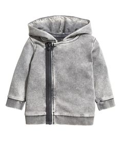 Check this out! Cardigan in soft sweatshirt fabric with a hard-washed look. Lined hood, off-center zip at front, and ribbing at cuffs and hem. - Visit hm.com to see more.