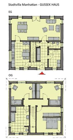 Grundriss Stadtvilla quadratisch mit Walmdach Architektur