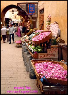 Selling roses in the marketplace - Fez, Morocco