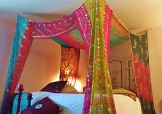 Boho Gypsy Bed Canopy .MADE TO ORDER 2-3 weeks creation time. & Canopy Tent handmade galaxy dyed by colouraddiction on Etsy ...