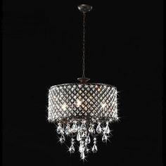 Antique Bronze 4-light Round Crystal Chandelier LIGHT IN THE DARK