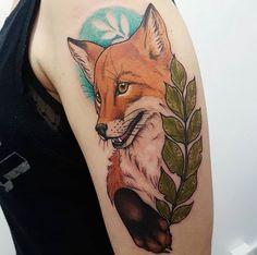 Não deixe de conhecer os artistas especialistas em tattoos de animais Flower Tattoos, Fox Tattoos, Traditional Tattoo Flowers, Tattoo Foto, Fox Art, Body Mods, Piercings, Ink, Tattoo Ideas