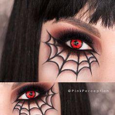 Eye makeup for Halloween Eye Makeup Art, Goth Makeup, Scary Makeup, Face Makeup, Beauty Makeup, Halloween Makeup Looks, Halloween Eyes, Spiderman Makeup, Spider Web Makeup