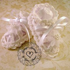 Fancy Beaded Baby Booties for Christening by HeritageHeartcraft Thread crochet baby booties embellished with faux pearls, organza flowers and satin ribbon. Custom order in your choice of colors.