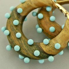 Taffin Jewelry. Turquoise and wood ear hoops. Taffin Jewelry - Alain.R.Truong