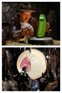 Pickle rick in Indiana Jones and the screaming sun.