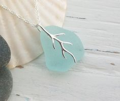 Scottish Sea Glass and Sterling Silver Necklace - SEAFOAM SIMPLICITY £20.50