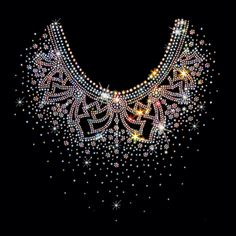 12x12  - AB BURST ORNATE NECKLINE -RHINESTONES - ab burst, neckline, ornate, ornate neckline, rhinestones, stones, Material Transfer, Necklines