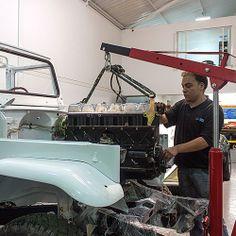 Installing the engine. #fjco1982white #toyota #landcruiser #fj43 #fjrestoration