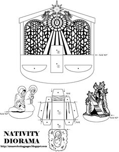 Hundreds of free printable Xmas coloring pages and Xmas activity sheets for children of all ages. Diy Nativity, Christmas Nativity Scene, Christmas Angels, Nativity Scenes, 3d Templates, Religion Catolica, Paper Toys, 3d Paper, Free Paper