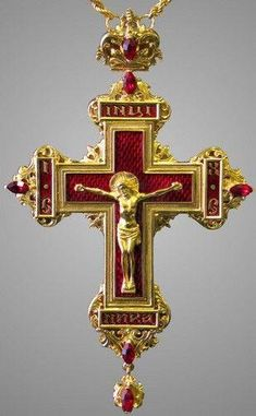 Gold Cross with diamonds and rubies