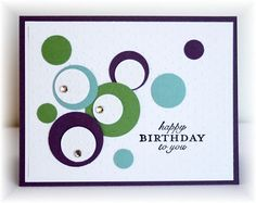 handmade birthday card ... punched circles in a pretty arrangement ... could use any color ... great for scraps ...