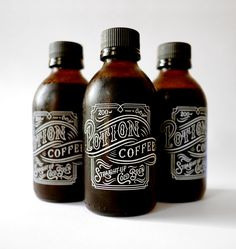 Potion Coffee - Nice typography on the packaging Beverage Packaging, Coffee Packaging, Bottle Packaging, Bottle Labels, Brand Packaging, Potion Bottle, Coffee Labels, Coffee Menu, Chocolate Packaging