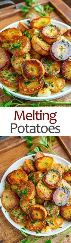 Melting Potatoesn s Yukon gold), peeled and sliced 1 inch thick 4 tablespoons butter, melted 1 teaspoon thyme, chopped salt and pepper to taste 1 cup chicken broth or vegetable broth 1 tablespoon lemon juice (optional) 2 garlic Potato Dishes, Vegetable Side Dishes, Potato Recipes, Vegetable Recipes, Food Dishes, Vegetarian Recipes, Cooking Recipes, Healthy Recipes, Zoodle Recipes