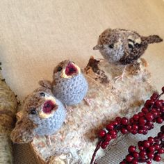 Baby sparrows with mum - realistic crochet bird sculpture from Freshly Knitted. Available from https://www.etsy.com/uk/listing/204109451/baby-house-sparrow-crochet-sculpture?ref=related-0