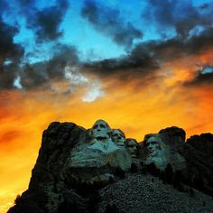 Beautiful Mount Rushmore at sunset.