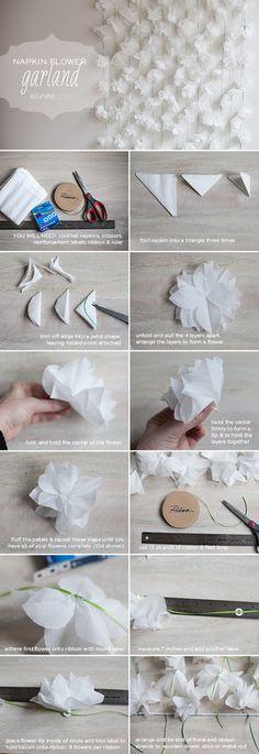 三角に折り畳んだ紙を手順の画像の3コマ目と同じように切って、花びらの形のパーツを作ります。このパーツを角度をずらしながら4枚程重ね、裏側をぎゅっと捻って止めればお花の完成。細いリボンや紐などで繋いでガーランドに仕上げます。たくさんつけるのが可愛いですね!