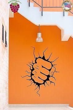 Wall Sticker Punch Breaking Wall Martial Art Decor for Garage z1313