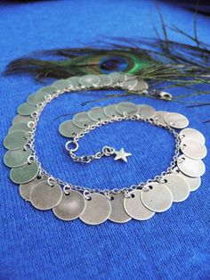 Gypsy coin ankletAntique silver tone coin by BohemianFairyShop
