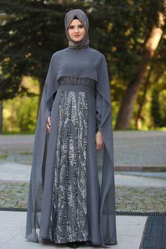 Neva Style - Pul Payet Detaylı Pelerinli Füme Tesettür Abiye Elbise 52574FU İndirimli Abiye Elbiseler, ABİYE ELBİSELER, Neva Style, BÜYÜK BEDEN Bu ürün abiye olduğu için iade kabul edilmemektedir. Değişim yapılır. (Abiye ürünlerin değişimi NEVASTYLE