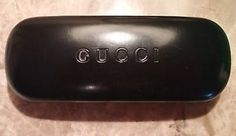 GUCCI Black CLAMSHELL Leather LOOK Embossed LOGO Glasses SUNGLASSES ~Case ONLY | eBay