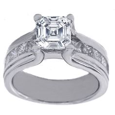 Platinum Asscher Cut Diamond Bridge Engagement Ring 1.15 tcw.