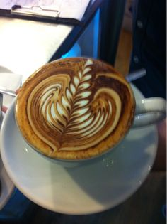 Beautiful Cocoa Latte Art Rosetta by Unknown Artist