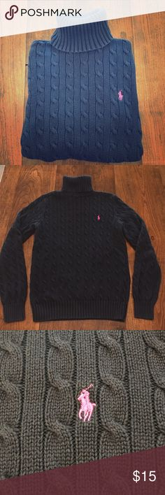 "Ralph Lauren turtleneck Ralph Lauren sport cable knit turtleneck. Gently worn, great condition. Laying flat, measures approximately 17"" across chest, 15.5"" long (underarm to bottom hem), with 24"" sleeves (shoulder to fingertip). Navy with pink/purple pony. EUC! Ralph Lauren Sport Sweaters Cowl & Turtlenecks"