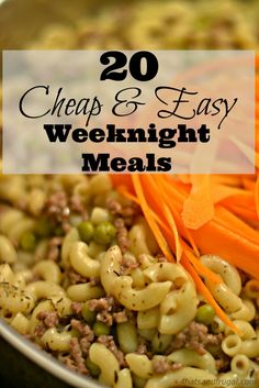 Cheap & Easy Weeknight Meals Need cheap and easy meals for your busy weeknights? These 20 meal options are delicious and frugal!Need cheap and easy meals for your busy weeknights? These 20 meal options are delicious and frugal! Cheap Easy Meals, Inexpensive Meals, Cheap Dinners, Frugal Meals, Easy Weeknight Meals, Cheap Food, Freezer Meals, Cheap Family Meals, Kid Meals